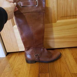 Etienne Aigner cognac leather knee high boots
